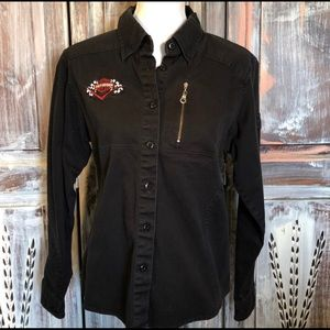 Harley Davidson Women's Fitted Button Up Black